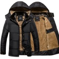 Thick Warm Winter Jacket Men Overc Jackets Detachable Hat High Collar Outerwearoat Fluff Lining Down Coats Parka Casual
