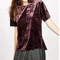 2017 Candy-color Summer Velvet T Shirt Women O Neck Short Sleeve Brand Casual Tops Brand haut femme QQWM1778