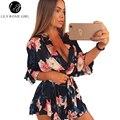 Boho Rojo Estampado floral Cuello En V Profundo Mujeres Satén Rompers Playsuits Elegante Verano 2016 Playa Sexy Fajas Trajes de Mono Corto