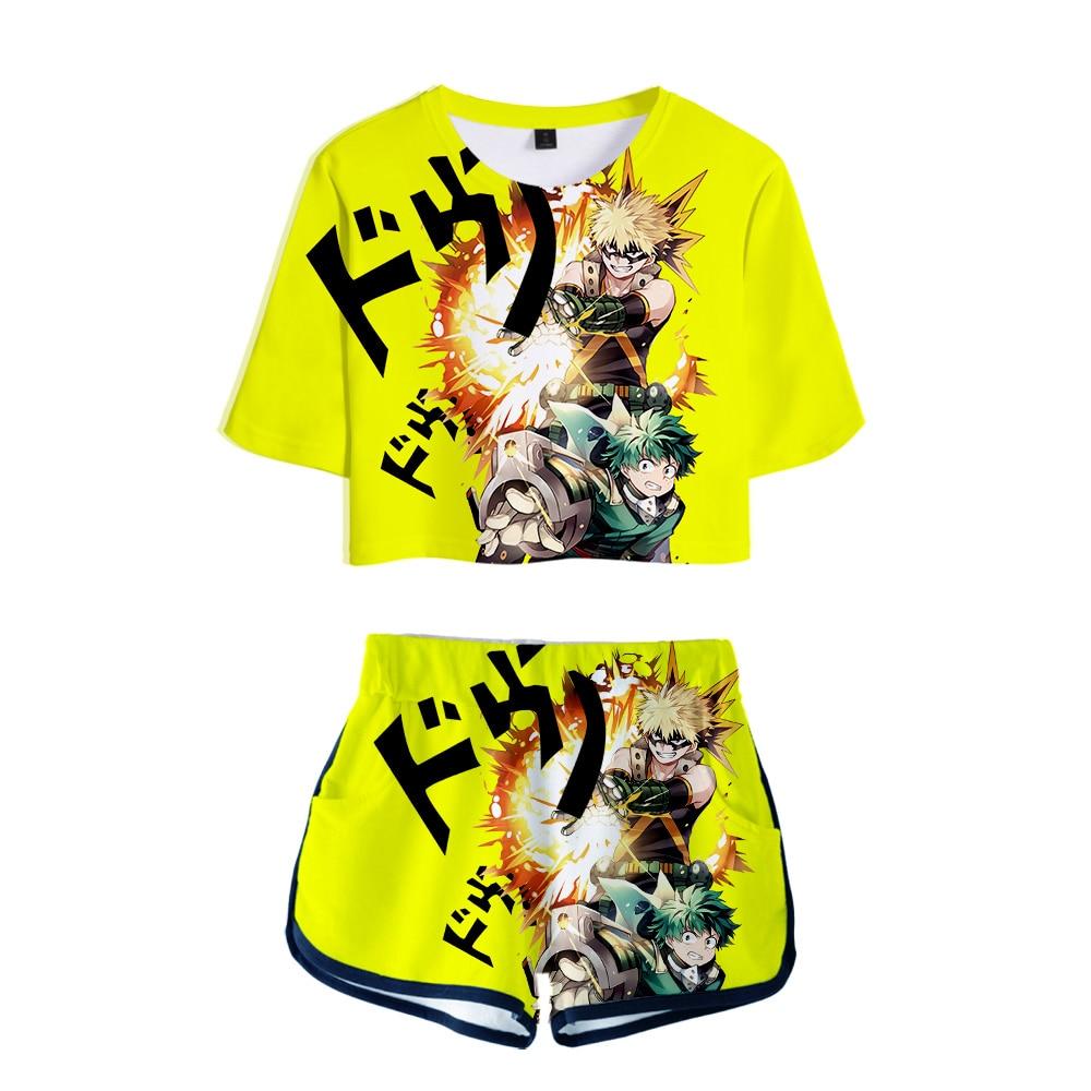 My Hero Academia And Saint Seiya 2 Piece Outfits Summer Short Sleeve Anime Tshirt + High Waist Biker Shorts 2 Piece Set Women