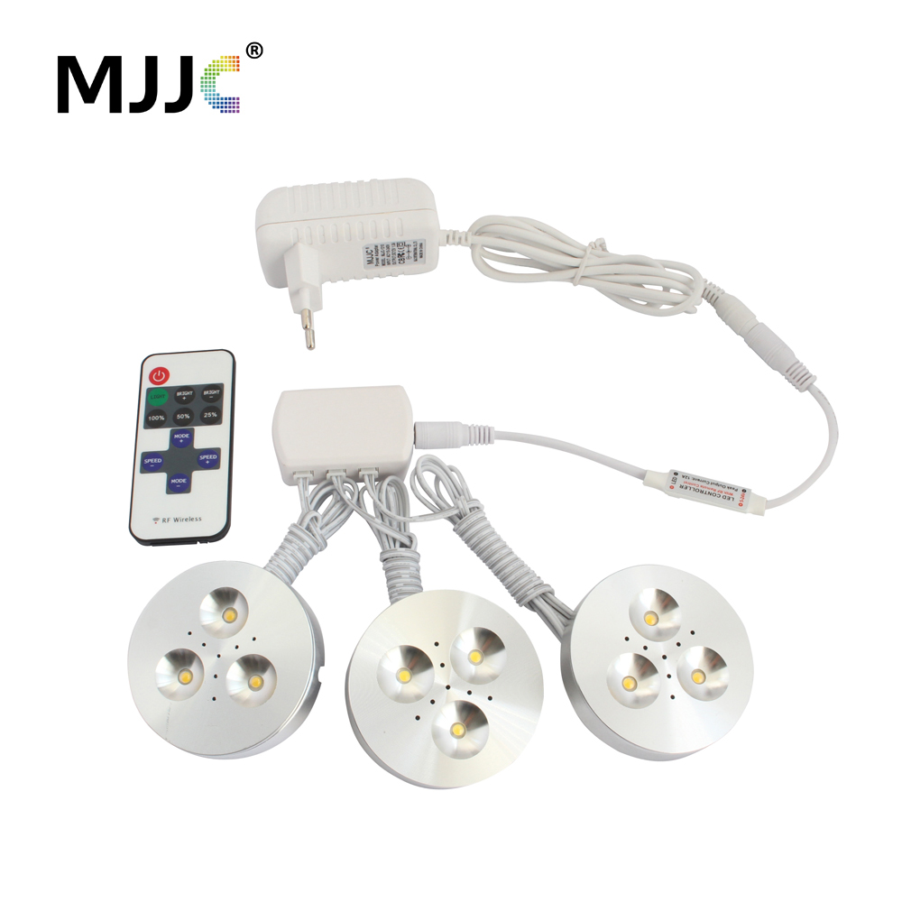 12V LED Puck Light Dimmable Wireless DC 12V LED Downlights Lighting for Under Kitchen Cabinets Home Counter Closet Furniture 4pcs sets of dimmable 12v dc 2 5w led under cabinet lighting puck light for kitchen counter led cabinet light