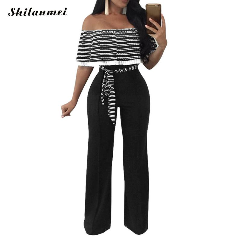 Long Jumpsuits for Women 2017 Off Shoulder Print Striped Long Rompers Women Jumpsuits Summer Women'S Bodysuits Combinaison Femme