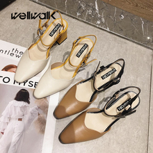 Wellwalk High Heel Sandals Women Ankle Strap Heels Shoes Women Close Toe Sandals Ladies Block Heels Female Sandals Elegant