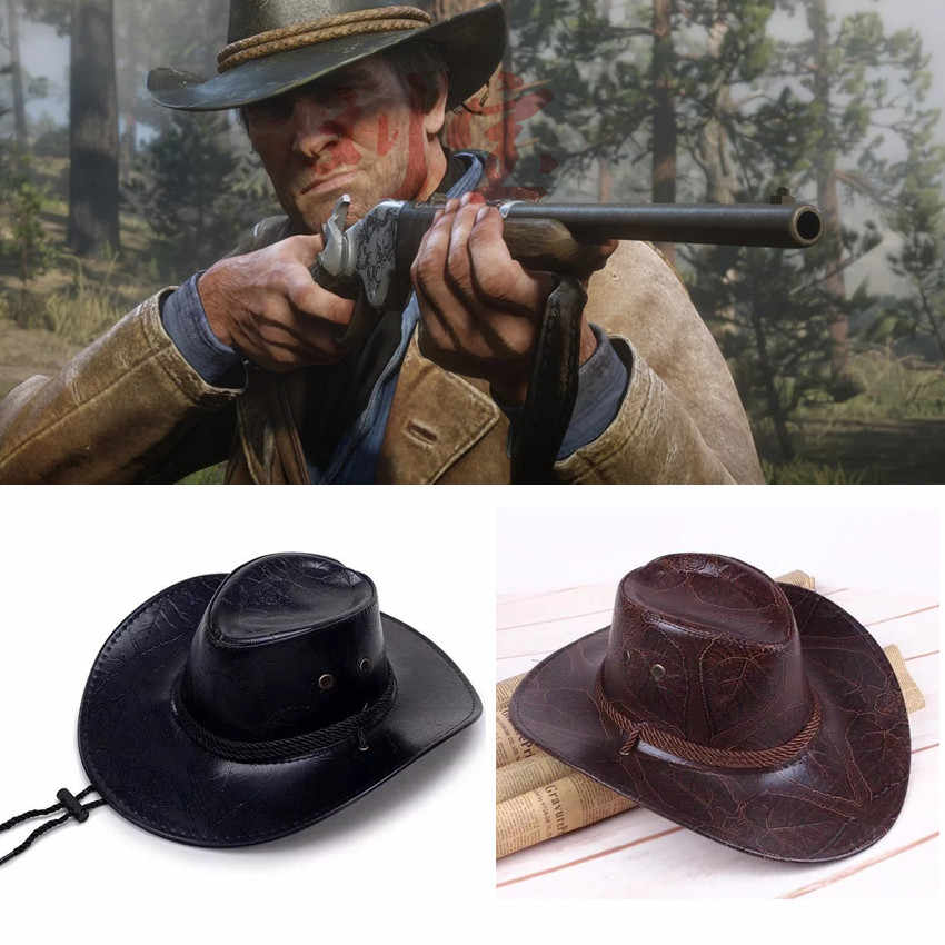 a8838c12edb Game Red Dead Redemption 2 Hat Cosplay Cowboy Punk Hats Morgan Cos Western  Vintage Cap Costumes