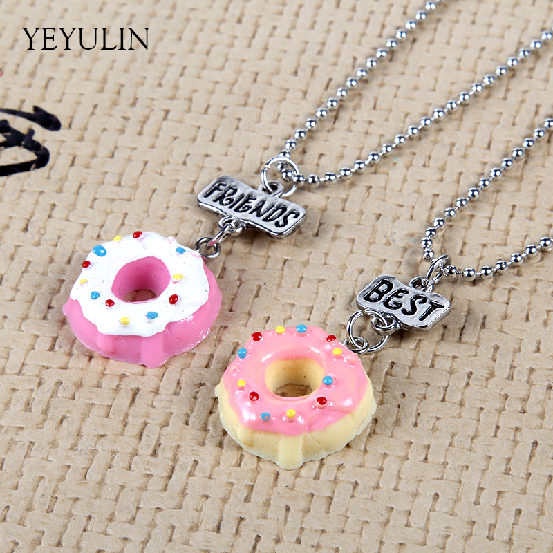 Alloy Cute Best Friends Pendant Necklace Resin Simulated Food Cream Donuts Charms Pendants Chain Necklace Kids Toy Jewelry 2pcs