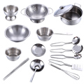 16Pcs Stainless Steel Kids House Kitchen Toy Cooking Cookware Children Pretend & Play Kitchen Playset - Silver