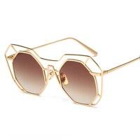 Fashion Brand Designer Hexagon Hollow Sunglasses Women Alloy Frame Oversized Mirror UV400 Vintage Sun Glasses Female