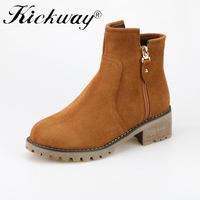 Kickway Women Genuine Leather Ankle Boots Black Tan square heel with double zipper boots Ladies Boots plus size riding boots 40