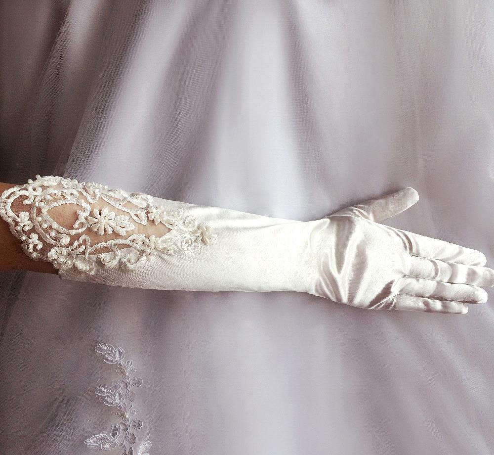 Горячая Распродажа новые цвета слоновой кости белые перчатки для невесты бисерные кружевные свадебные перчатки с длинными пальцами свадебные аксессуары Luvas de Noiva