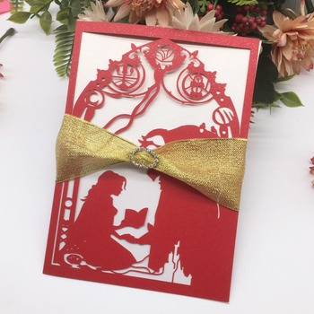 50Pcs/Lot Fairy Tale Theme Wedding Invitations With Ribbon Laser Cut Exquisite Pattern Romantic Wedding Card Greeting Gift Card