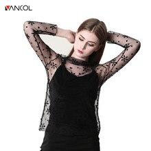 Vancol 2017 Summer Womens Long Sleeve Sexy Black Mesh Top T Shirts Transparent Punk Club Streetwear Tees Beach Tops