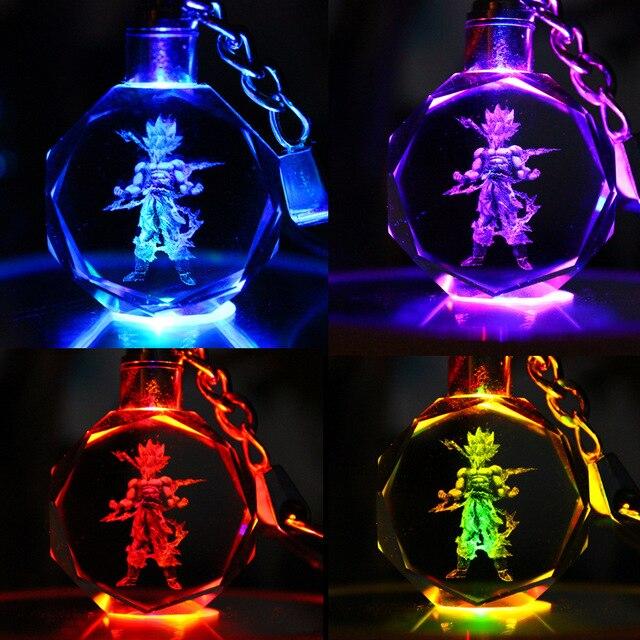 Anime Dragon Ball Z GK Resin Figure Keychain Led Flashlight Key Holder Figure Vegeta BUU Son Goku Jr Buruma Keyrings Key Toys