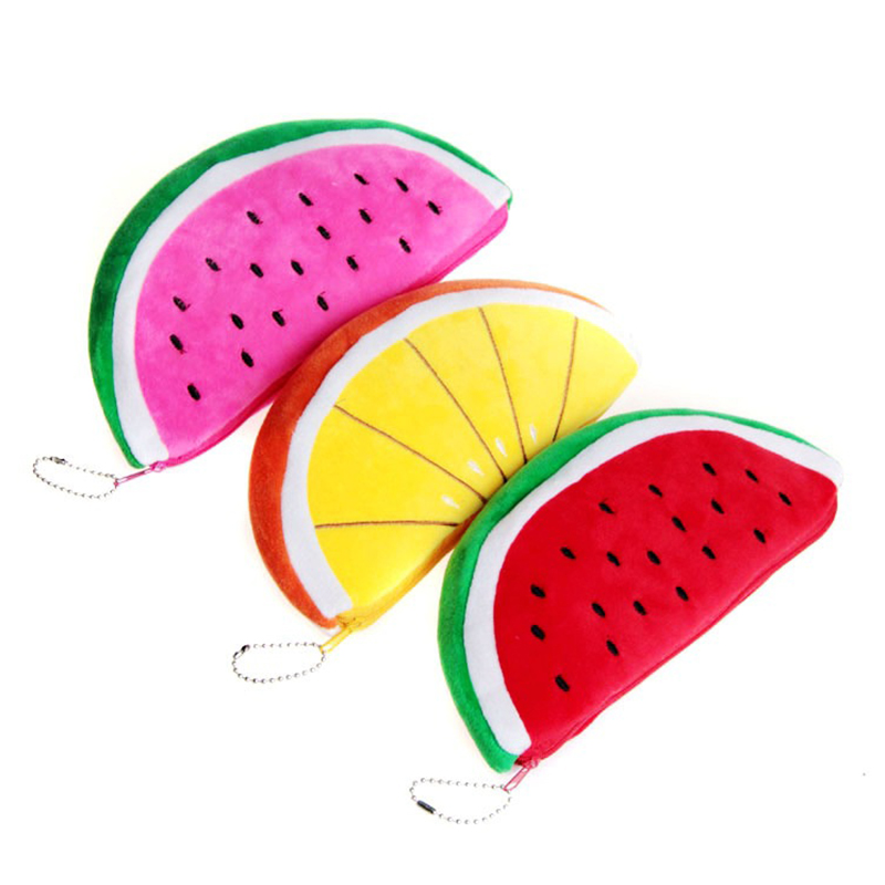 Creative Watermelon Pencil Case Cute Fruit Plush Pencil Bag Kawaii Pen Pouch School Supplies Zakka