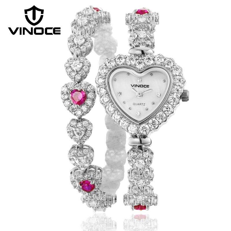 VINOCE femmes Bracelet montres de luxe marque cristal diamant coeur montre dames Quartz montre-Bracelet 2019 Relogio Feminino #633248