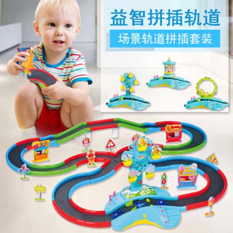 Toys For Children DIY 3D Electric Rail Speed Car Train Model Color Track Racing Car Boys And Girls Educational Toys