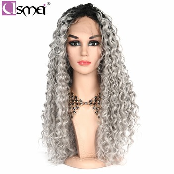 USMEI 26 Inch Long wig Lace Front wigs Ombre Grey Wig kinky Curly Synthetic Wigs For Women 2-tone Color black root cosplay hair