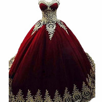 Royal Blue Burgundy Gold Lace Quinceanera Dresses Ball Gown 2018 Vestidos de 15 Anos Applique Puffy Sweet 16 Prom Dress Muslim