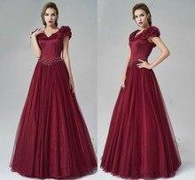 Burgund Abendkleider 2017 Kurzarm Gala Kleid Vestidos De Festa Para Casamento Blume Event Kleider für Frauen 7151602
