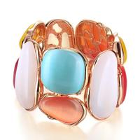The Real Rose Gold Plated Opal Charm Bracelet Bangles For Women Super Cool Party Queen Style