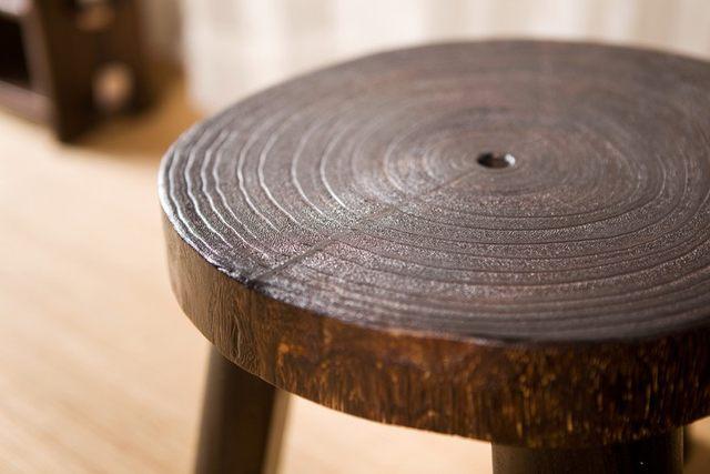 Tienda Online Japonés de madera antiguo taburete redondo madera de ...