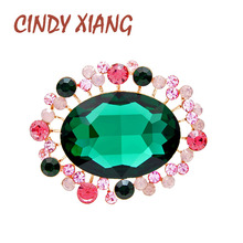 CINDY XIANG Green Color Crystal Flower Brooches For Women Cute Vintage Fashion Round Brooch Pin Wedding Coat Accessories Gift