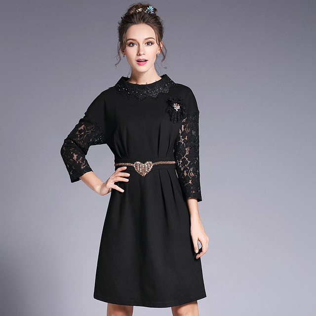 Ouyalin L- 5XL Beading Detail Lace 3 4 Sleeve Heart-Belt Women Short Dress  2017 Autumn Elegant Black Mini Party Dresses Vestidos 53a304a01ca2