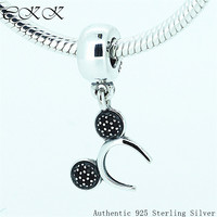 Mouse Headband Beads 100 925 Sterling Silver Black Cz Dangle Charm Fit Bracelets Diy Fine Jewelry
