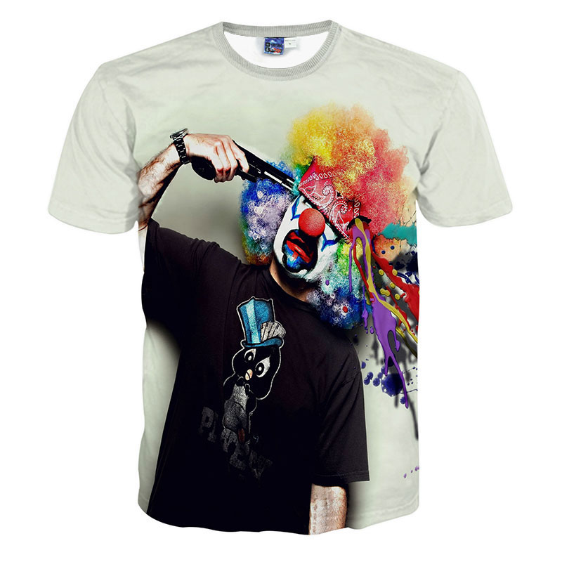 The circus clown Tie dye 3D T shirt Men Camisa Masculina Harajuku Mens Tshirt Short Sleeve Top Neon Rainbow Colorful Shirt