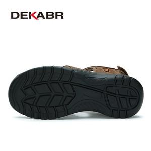 Image 4 - DEKABR Brand Genuine Leather Men Shoes Summer New Large Size Mens Sandals Men Beach Shoes Fashion Slippers Big Size 38 45