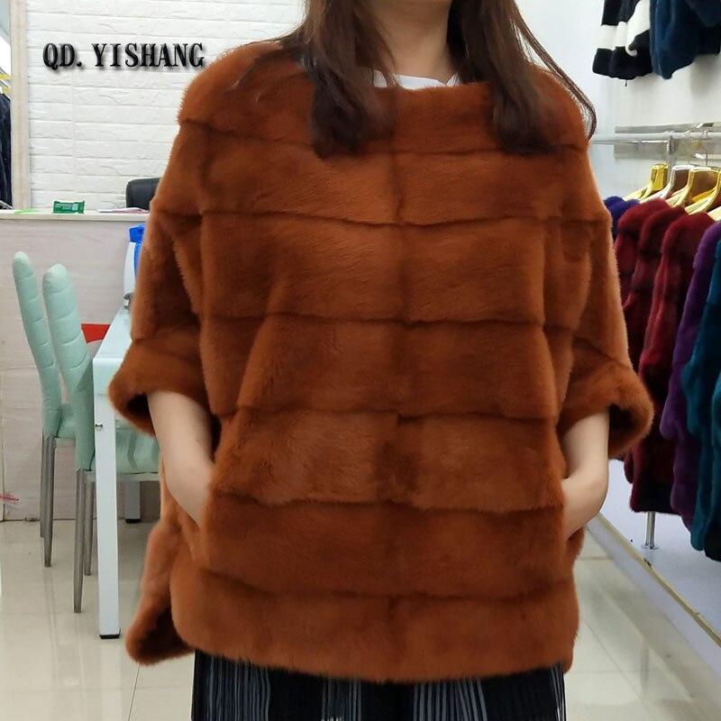 Real natural mink fur jacket novas moda feminina camisa bat casaco de vison casaco de pele de outono e inverno curto populares QD. YISHANG