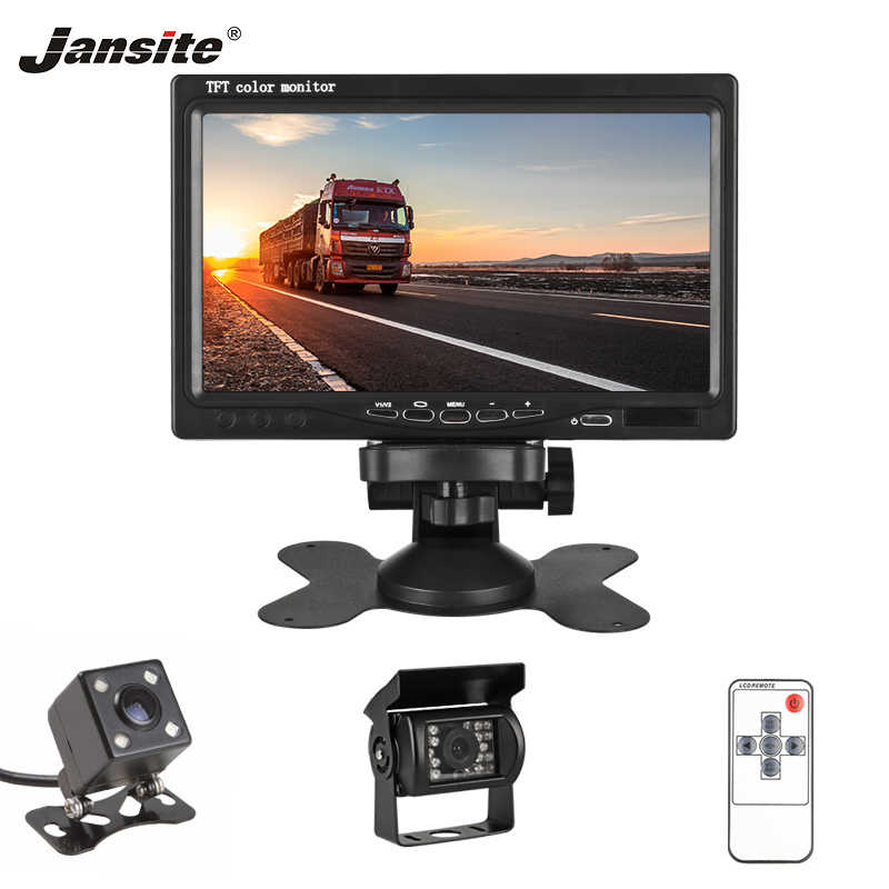"Jansite 7"" Wired Car monitor TFT Car Rear View Monitor Parking Rearview Night Vision 18 LED IR Waterproof Backup Reverse Cameras"
