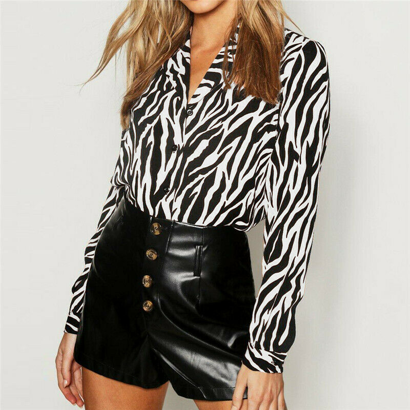 Women's Animal Print Long Sleeve   Shirts   Vintage Zebra Pattern Casual Ladies   Blouse   Tops Summer Fashion V-Neck Clothes 2019 NEW