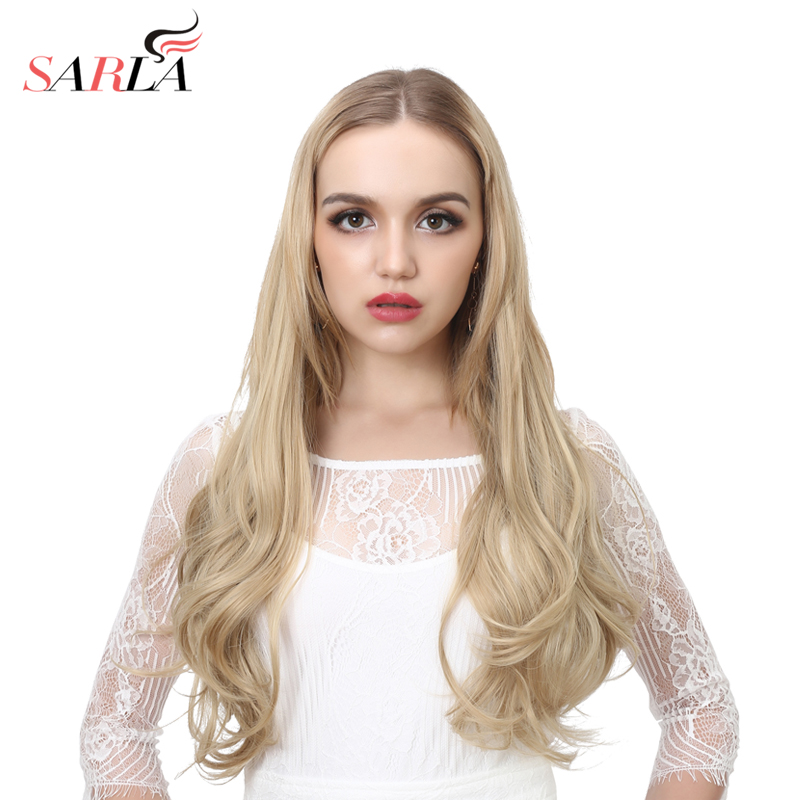 SARLA 24 60cm Long Boby Wavy Full Head U-part Synthetic Hair Extensions Heat Resistant Fiber Natural Clip-in Hairpieces UH17