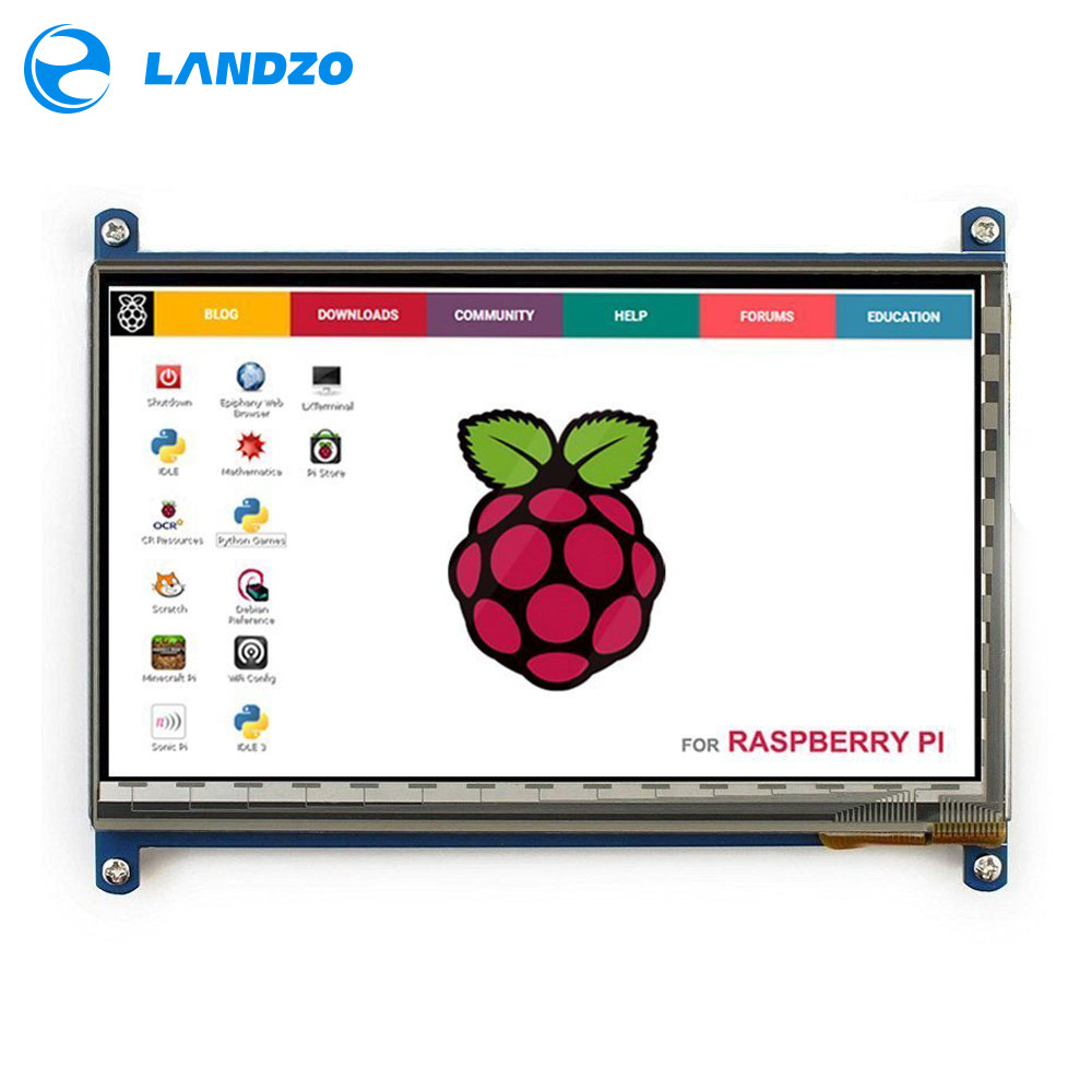 Frambuesa Pi 3 pantalla HDMI 7 pulgadas 800*480 LCD con pantalla táctil para frambuesa Pi 3 B +/2B Pcduino Banana Pi