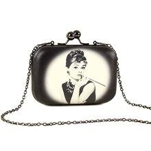 Vintage Femmes de Soirée D'embrayage Sacs Fleurs Audrey Hepburn de Bande Dessinée Impression Sac À Main Mini En Cuir Clip Marque Parti Bourse XA267H