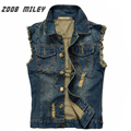 New Fashion 2016 Men's Frayed Denim Vest Plus Size S-5XL Sleeveless Ripped Jeans Jackets Male Cowboy Waistcoat Tank Tops