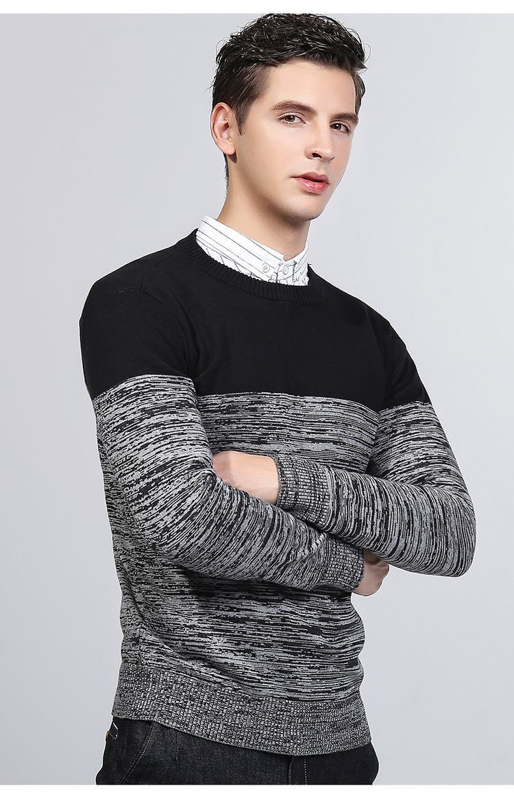 Aolamegs Men Sweater Fashion Hit Color Knitted Pullovers 2017 Spring New Men\'s Classic Casual Slim Fit Knitting Sweter Hombre (3)