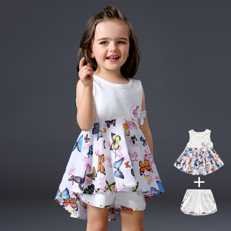 2017 Brand Designers Baby Girl Clothes Sets Infant Suits Girls Lovely Dress + White Cotton Shorts 2 Piece Summer Clothing Kids цена
