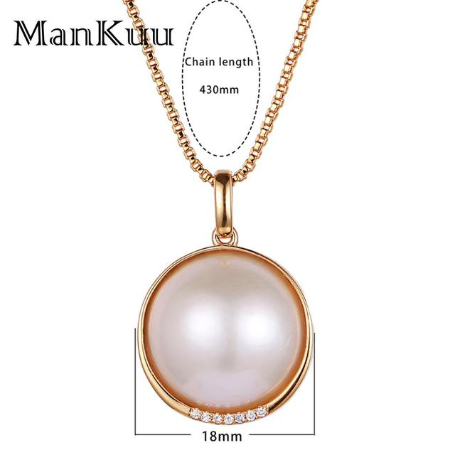 Natural Pearl Necklaces Decorate South Africa Diamond 18K Gold Necklace 18mm Round Freshwater Pearl Necklaces For Women 1