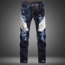 Fashion Jeans Men Frazzle Standard Straight Denim Pants Embroidered Eagle Pattern Design Split Slim Long Trousers Classic Unique