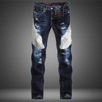 Fashion Jeans Men Frazzle Standard Straight Denim Pants Embroidered Eagle Pattern Design Split Slim Long Trousers Classic Unique