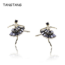 Gold Jewelry Ballerina Girl Ballet Dancer Crystal Stud Earrings For Female High Quality Attractive Ear Jewelry, Item: WE10809B