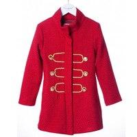 Hiver Fille Veste Nouvelle Mode Chaud Épais Manteau Rouge Revers Coton Enfants Vêtements D'hiver Mignon Bébé Enfants Veste de Marque vêtements