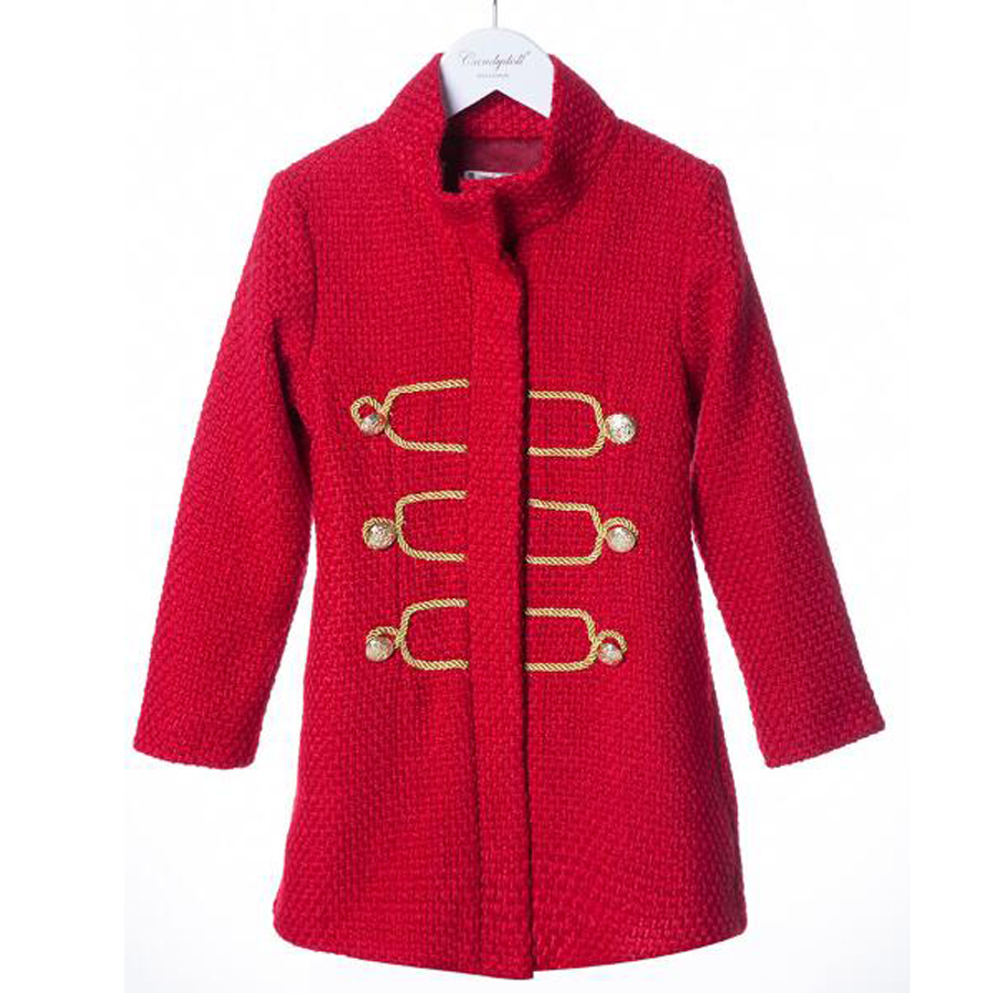 Winter Girl Jacket New Fashion Thick Warm Coat Red Lapel Cotton Children's Clothing Winter Cute Baby Kids Jacket Brand Clothing