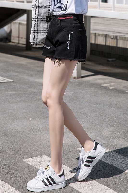 sexy ripped shorts2018 Summer New Personality Letter Flash Raw Shortssummer denim denim shorts for women high waisted