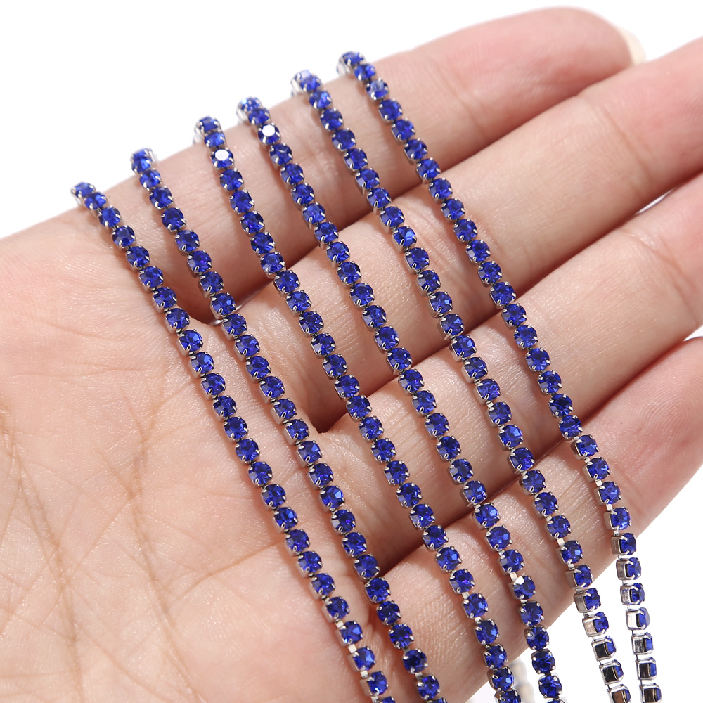 Stainless Steel Blue/Red/Black/White Rhinestone Cup Chain Crystal Trimming Claw Chain for DIY Arts Craft Sewing Jewelry Making