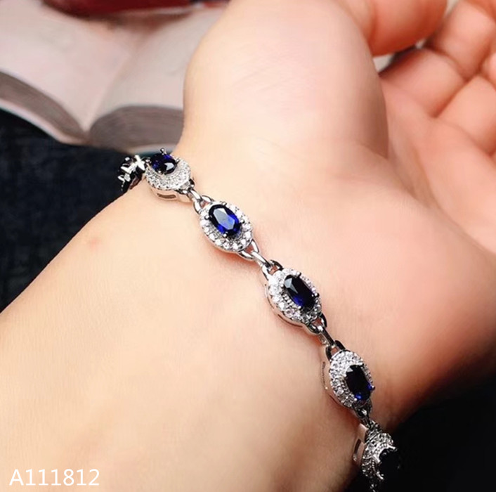 KJJEAXCMY Fine jewelry 925 Silver inlaid Natural Sapphire Women s Bracelet Support Detection