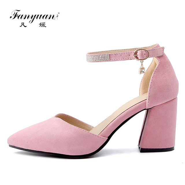 eeaa11e383d Fanyuan New women shoes Elegant Wedding Party buckle strap with crystal  decoration lady high heels Soft solid Cover heel Pumps