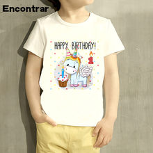 Kids Happy Birthday Unicorn Design Baby Boys Girl TShirt Funny Short Sleeve Tops Children