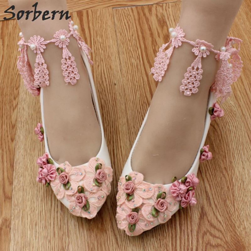 Pink Heels For Wedding: Sorbern Blush Pink Lace Flower Wedding Shoes 5Cm Kitten